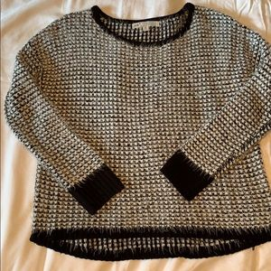 Black and white fuzzy knit sweater